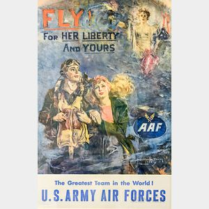 Framed Howard Chandler Christy Fly For Her Liberty And Yours   Poster
