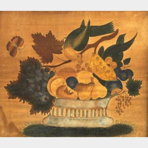 American School, 19th Century  A Theorem:  A Basket of Fruit with a Bird and a Butterfly.
