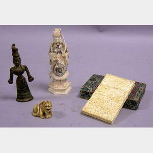 Asian Brocade Card Case, Bronze Figure, Carved Ivory Figure, and Netsuke.