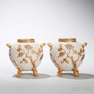 Pair of Royal Worcester Porcelain Wicker Vases