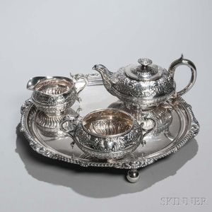 Three-piece George III Sterling Silver Tea Service with Associated Silver-plate Tray