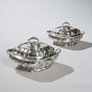 """Pair of Gorham """"Chantilly"""" Pattern Sterling Silver Vegetable Tureens and Covers"""
