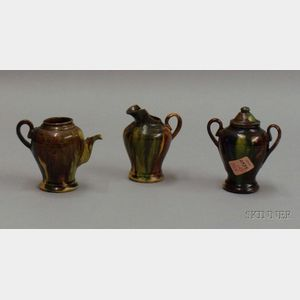 Three Miniature Mottled Glazed Pottery Tea Items