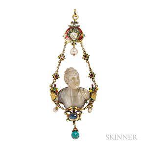 Fine Renaissance Revival Gold Gem-set Pendant