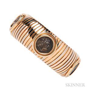 """18kt Tricolor Gold and Ancient Coin """"Monete"""" Bracelet, Bulgari"""