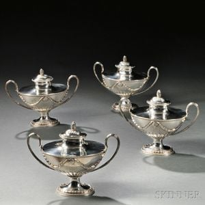 Four George III Sterling Silver Covered Sauce Tureens