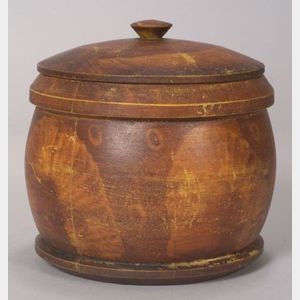 Large Paint Decorated Treen Covered Jar