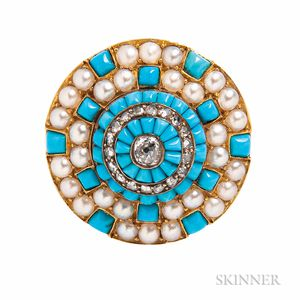 Victorian Gold, Turquoise, Split Pearl, and Diamond Brooch