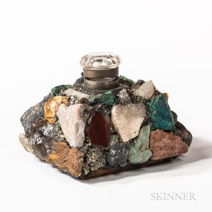 Glass Inkwell Encrusted with Semiprecious Stones