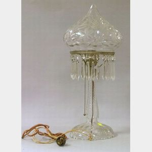 Colorless Cut Glass Boudoir Lamp with Prisms.