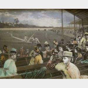 Walnut Framed Hand-colored Etched Resin 1888 Era Baseball Game Scene Plaque