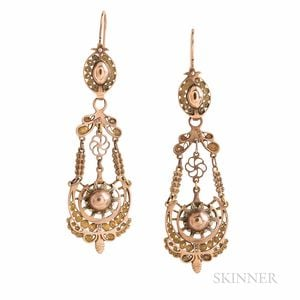 Antique Gold Filigree Day/Night Earrings