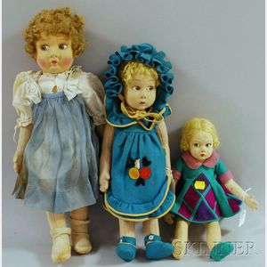 """Three Cloth Dolls, Six """"Ginny"""" Doll Outfits in Original Boxes, and Assorted   Other Items,"""
