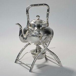 Chinese Export Silver Kettle-on-Stand