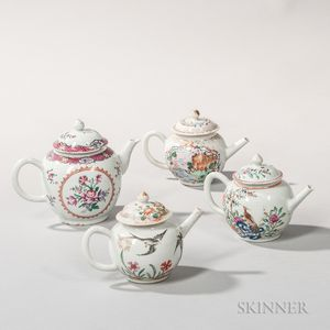 Four Globular Export Porcelain Teapots