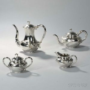 Four-piece Chinese Export Sterling Silver Tea and Coffee Service