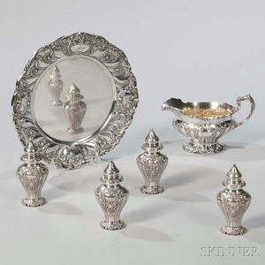 """Six Pieces of Gorham """"Chantilly"""" Pattern Sterling Silver Tableware"""