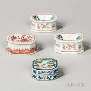 Three Export Porcelain Salt Cellars and a Small Lidded Box