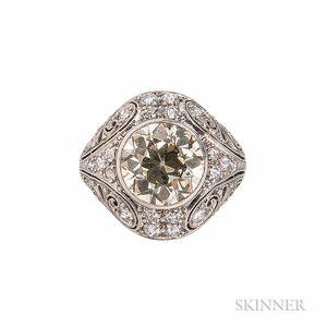Art Deco Platinum, Colored Diamond, and Diamond Ring