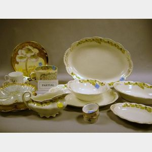 Set of Eleven Limoges Gilt Porcelain Oyster Plates and an Assortment of Limoges and English Decorated Ceramic Tableware.