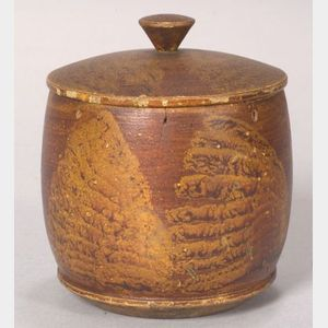 Small Paint Decorated Treen Covered Jar
