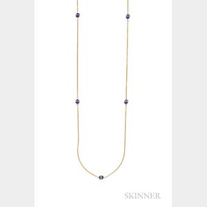 Art Deco Gold, Lapis, and Rock Crystal Long Chain