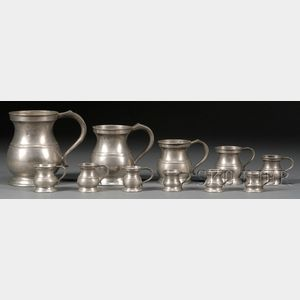 Eleven Graduating Pewter Measures