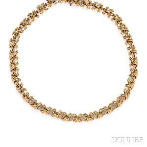 """18kt Gold and Diamond """"Signature"""" Necklace, Tiffany & Co."""