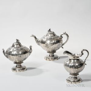Baldwin Gardiner Three-piece Silver Tea Service