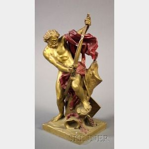 French Bronze and Paint Accented Figure of an Archer