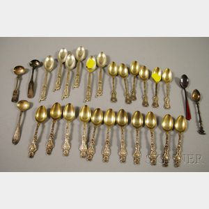 Twenty-eight Assorted Mostly Silver Demitasse Spoons