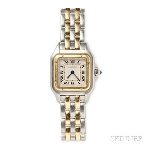 "Gold and Stainless Steel ""Panthere"" Wristwatch, Cartier"