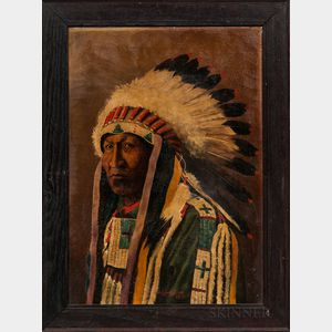 Oil on Canvas Painting Depicting a Plains Indian Chief