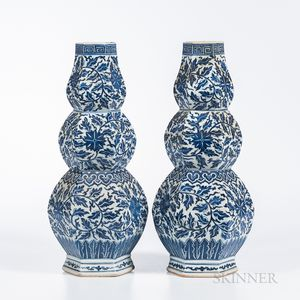 Pair of Blue and White Triple Gourd Vases