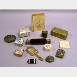 Fourteen Small Decorative Boxes and Items