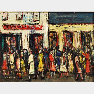Sol Wilson (Polish/American, 1896-1974)      Pedestrians on a City Street