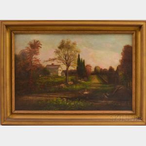 American School, 19th Century       Landscape with Whittier Homestead