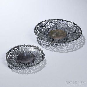 Two Chinese Export Sterling Silver Trays
