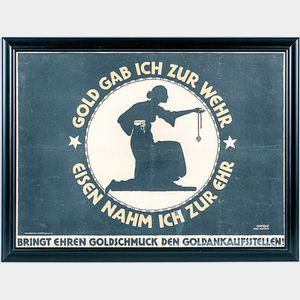 Framed WWI German Gold Gab Ich Zur Wehr   Poster