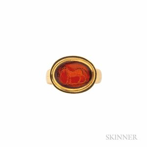 Antique Gold and Carnelian Intaglio Ring