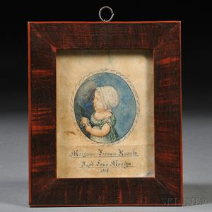 Possibly by Jacob Maentel (Pennsylvania and Maryland, 1763-1863)      Portrait Miniature of Maryann Lavinia Knauls Aged Four Months