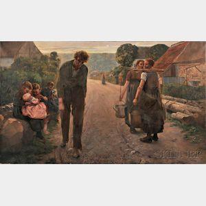 Firmin Baes (Belgian, 1874-1943)      The Widower's Daughters