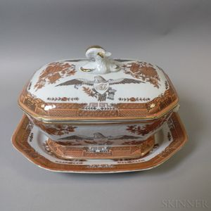 Chinese Export-style Eagle-decorated Porcelain Soup Tureen and Underplate
