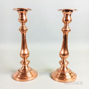 Near Pair of Robert Sturm Copper Candlesticks