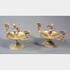 Pair of Aesthetic Movement Part Silver Patinated Two Light Candelabra