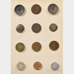 Twelve Colonial American Buttons
