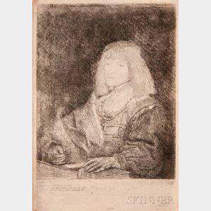 Rembrandt van Rijn (Dutch, 1606-1669)      Man at a Desk Wearing a Cross and Chain