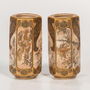Pair of Small Hexagonal Satsuma Vases