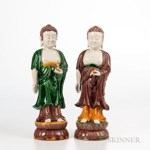 Pair of Sancai Figures of Buddha