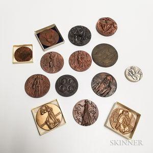 Fourteen Mostly Bronze Art Medals